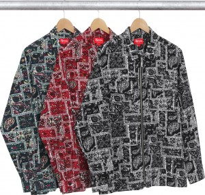 Broken Paisley Flannel Zip Up Shirt