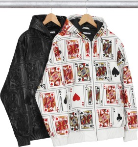 Court Cards Hooded Leather Jacket