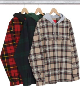Hooded Plaid Half Zip Shirt