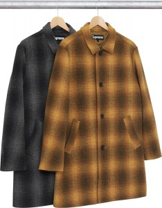 Shadow Plaid Wool Overcoat