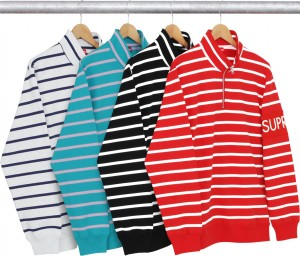 Striped Half Zip Sweat