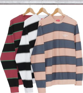 Striped Twill Crewneck