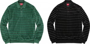 Striped Velour LS Polo